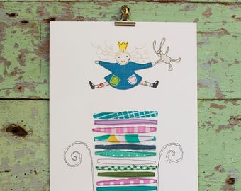 Princess and the pea - stitched art print