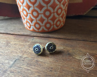 Mexican Talavera tile miniatures, Post Earrings, midnight blue, delft, Bohemian Jewelry