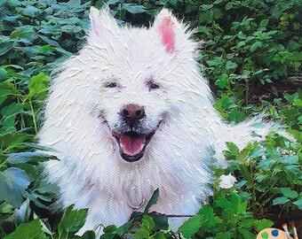 Samoyed Portrait - Samoyed Dog Painting from your Photo - Portraits-by-Nc
