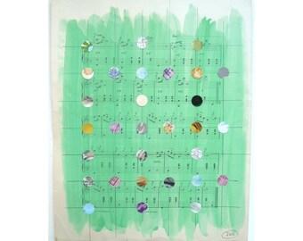 Mixed Media Art,Multicolored Dots, Dot Grid, Green Art, Pattern, Dot Pattern, Antique Sheet Music, Organ Music, Teacher Gift, Musician Gift