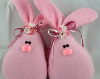 Fleece Bunny Easter and Spring Decoration, Stuffed Bunny, Easter Bunny, Set of 2 Spring Bunnies in Pink Fleece