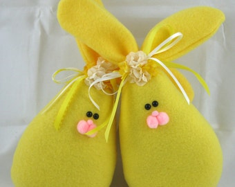 Fleece Bunny Easter and Spring Decoration, Stuffed Bunny, Easter Bunny, Set of 2 Spring Bunnies in Yellow Fleece