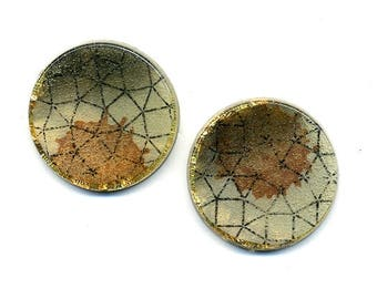 Resin  Earrings – Circle earrings -  Round earrings - Light  – Nickel free studs - Button Earrings
