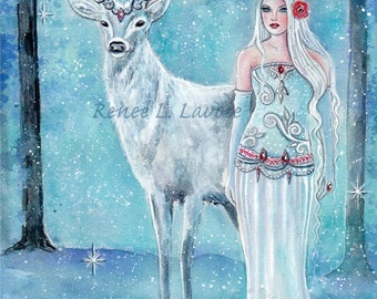 Nordic winter goddess with white buck print fantasy art  by Renee L. Lavoie
