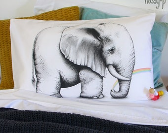 Rainbow Elephant pillowcase, facing right. Illustrated pillowslip. Australian Gift with original art by flossy-p.