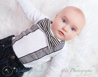 Bow tie suspenders onesie or Tshirt... vintage style look... hairingbon -- boys clothing.. photo prop... new baby