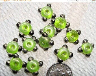 CLEARANCE Sylvie Elise Lansdowne BEADS - Set of 6 Small Lampwork Glass Spacer Beads in Spring Green with Gold Tips