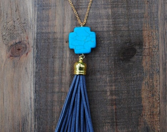 Turquoise & Grey Tassel Necklace
