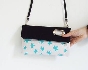 Leaves Canvas Foldover Bag for Woman , Handbag, Clutch, Crossbody Bag , ScreenPrint