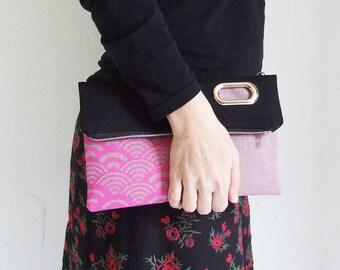Canvas Foldover Bag for Woman , Handbag, Clutch, Crossbody Bag , ScreenPrint, Japanese Waves