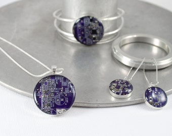Circuit Board Jewelry Gift Set, Colorful Computer Necklace, Motherboard Bangle Bracelet, Dangle Earrings, Engineer Gift, Wearable Technology