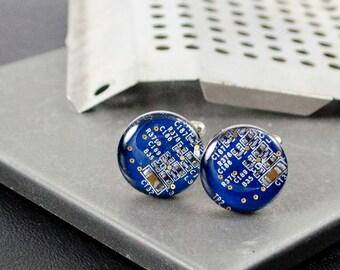 Circuit Board Cufflinks Blue, Recycled Computer Jewelry, Geeky Wedding Accessories, Nerdy Graduation Gift, Tech Gift, Geek Engineer Gift