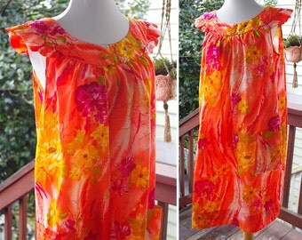 Fire FLOWERS 1960's 70's Vintage Bright Orange + Hot Pink Painted Floral Ruffled TIKI Beach Dress // Made in Hawaii // size Medium