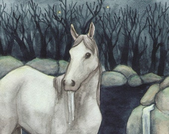 Original Art - The Star- Watercolor Horse Painting - Art from The Riderless Tarot