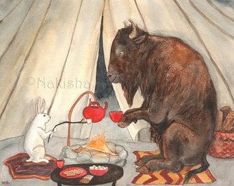 Tea with Buffalo - Fine Art Rabbit Print