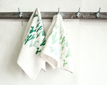 Dishtowel Set—Green Cactus Print