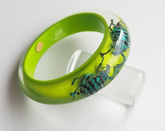 Fun bright green lucite bracelet with iridescent real beetles