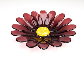 Light Burgundy flower dish, fused glass bowl, flower bowl, spring flower bowl, gift for her, flowers of spring