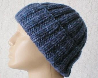 Denim blue watch cap, brimmed ribbed beanie hat, ribbed hat, blue hat, winter hat, knit toque, ski snowboard, mens womens hat, chemo cap