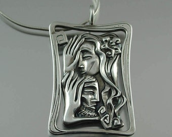 LOVERS designer silver pendant - Ready to ship