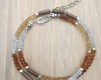 The Uzuri Collection- Facetted Beads of Carnelian, Sunstone, and Wood Tube Beads with Faceted Silver Beads