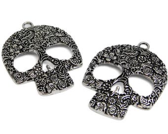 Sugar Skull Pendants - Day Of The Dead - Silver Skull Pendant - Antique Silver - Large Metal Pendants - 2pcs (B565-2)