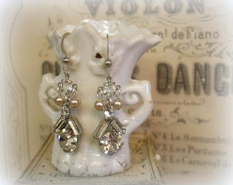 bellissimo sweet petites one of a kind vintage assemblage earrings mid century rhinestones and pearls sterling ear wires