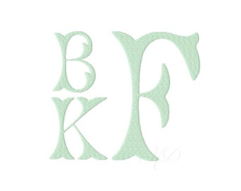 """6"""" inch Fishtail Embroidery Font Fairfax Open Monogram Stacked Embroidery Font Small 4x4 Hoop BX instant download PES"""