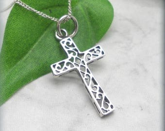 Sterling Silver Cross with Scrollwork Inset, Easter Necklace, Religious Pendant, Confirmation, Baptism, Easter Gift, Faith Necklace SN987