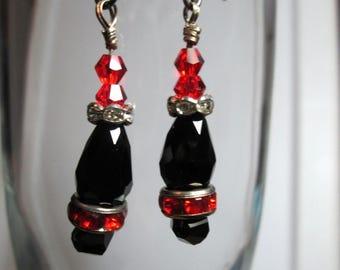 Red abd Black Crystal Earrings