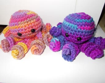 Crochet Octopus Amigurumi, Set of 2, Octopus Plush, 2 Stuffed Animal,Cute,Toy, Stuffed Octopus, Basket Filler, Aqua and grays, Palm Size