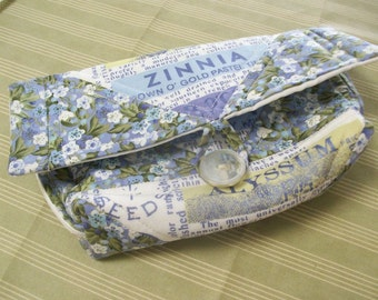 Quilted Sunglasses Case, Quilted Clutch Purse, Cosmetic bag, Lavender Blue, Quilted pouch, Small clutch, floral, ready to ship