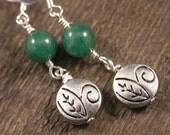Green aventurine stone beads, round silver leaf design charms handmade earrings