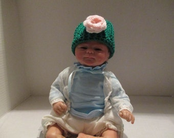 Hat, 6 months, Beanie, teal, pink, hand crocheted, baby girl, baby beanie, hat with rose, Photo Prop, shower gift, warm winter,