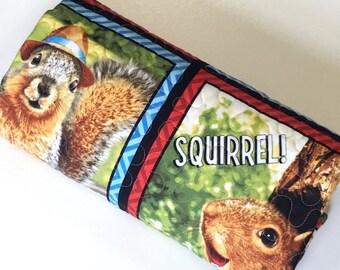 SALE Baby Boy Quilt Squirrels Woodland  Nursery Bedding Travel Quilt Blanket