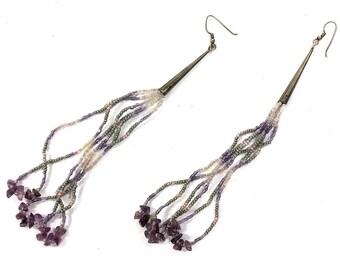 "Native American 7"" LONG Beaded Earrings / Vintage Shoulder Duster Dangle Sterling Silver Amethyst & Seed Bead / Pierced / Hippie Boho Ethnic"