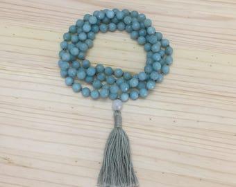 Amazonite Mala, 8mm Mala, Mala Necklace, Tassel Necklace, Long Necklace, Yoga, Meditation
