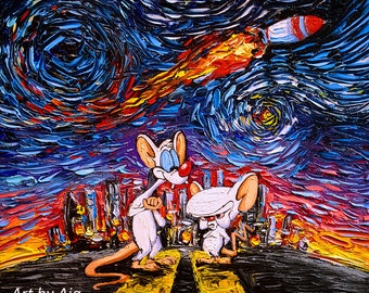 Pinky and the Brain Art - Starry Night print van Gogh Never Took Over The World by Aja 8x8, 10x10, 12x12, 20x20, 24x24 choose