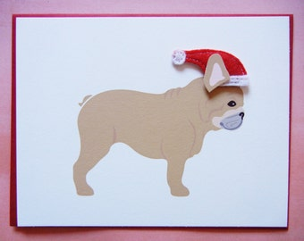 Christmas French Bulldog Santa Holiday Felt Santa Hat Blank Note Card with Envelope