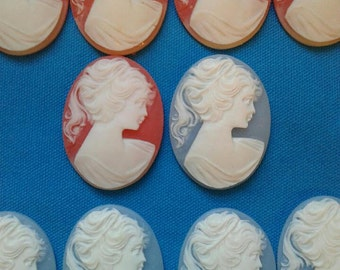 50 Vintage Cameos, Pink and Blue