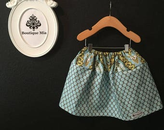 Sample SALE - Will fit Size 3T to 5T - Ready to MAIL - SKIRT - Amy Butler - Blue and Gray Dots - by Boutique Mia
