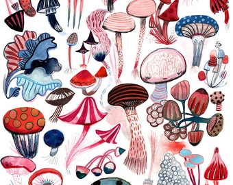 Dancing Mushrooms (e v e n i n g)  A4 print 21 x 30 cm from my pencil and watercolor illustration