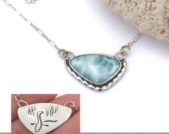 Larimar Necklace Reversible to Seabird Necklace in Sterling Silver Artisan Silversmith Bird Pendant Blue Necklace Adjustable Larimar Pendant