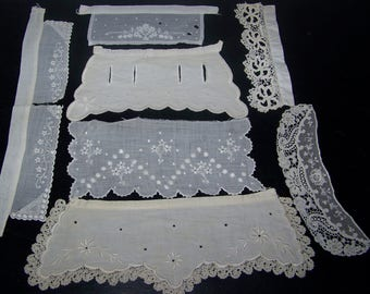 Vintage  Bits And Pieces Trim Applique Craft Doll Clothes Costume Doll Up Cycle Embroidery Lace  n3
