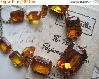SALE Fluidity~ Citrine  anna wintour necklace, Statement Necklace, Art Deco Necklace, citrine rhinestone necklace.