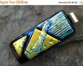 50% Off Dichroic Pendant, Fused Glass Jewelry, Black and Gold Glass Slide, Rectangle Dichroic Fused Glass Pendant