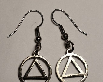 SALE TODAY Vintage Silver Tone AA Alcoholics Anonymous Triangle Circle Symbol Drop Pierce Earrings 12 Step