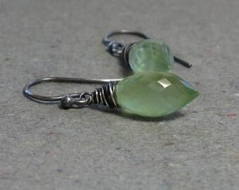 Prehnite Earrings Light Green Marquis Gemstone Oxidized Sterling Silver Earrings