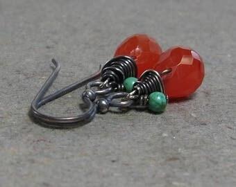 Carnelian, Turquoise Earrings Bright Orange Gemstones Sterling Silver Oxidized Earrings