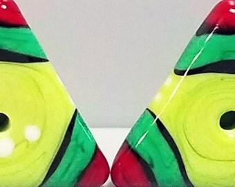 Holiday Tiny Triangles--Handmade Lampwork Beads